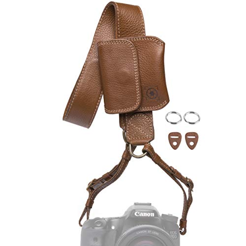 Inspire In Time Universal Camera Neck Strap | Durable Genuine Leather | Adjustable Straps | for Canon, Sony, Olympus, Nikon, Leica, Panasonic, Fuji; DSLR, Mirrorless | Removable Lens Cap Holder