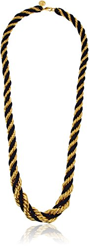 """41ORJn6mXoL Twisted rope necklace featuring yellow gold-plated and navy nylon strands 33"""" long Lobster-claw clasp"""