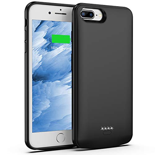 Battery Case for iPhone 8 Plus/7 Plus, 5500mAh Slim Portable Charger Case Extend 150% Battery Life, Protective Backup Charging Case Compatible with iPhone 8 Plus/7 Plus (Black)