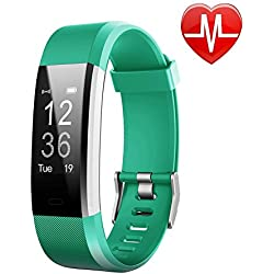 LETSCOM Fitness Tracker HR, Activity Tracker Watch with Heart Rate Monitor, IP67 Waterproof Smart Band, Step Counter Pedometer Watch for Kids Women and Men (Purple) (Green)