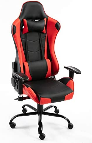 YJCFurniture Gaming Chairs Office Chair PC Computer Chairs Racing Recliner Gamer Chair Ergonomic Backrest Height Adjustment Swivel with Headrest and Lumbar Pillow Chair for Adults (B Red)