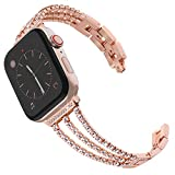 Surace Compatible for Apple Watch Bands 38mm Women Bracelet Replacement for Apple Watch Band 40mm Series 4 Compatible with Apple Watch Series 5 Band, Rose Gold