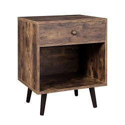VASAGLE Nightstand, End Table with Drawer, Open Compartment, and Pinewood Legs, Bedside Table for Bedroom, 19.7 x 15.7 x 22.8 Inches, Rustic Brown ULET71BX