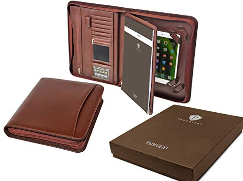 Professional Executive Business Resume Portfolio Padfolio Organizer PU Leather iPad & iPad mini ready for use - Tablet Sleeve, Zipper, Paper Pad, Business Card and Pen Holders, Document Folder - Brown