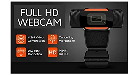 Webcam Vision Full HD Video Experience with Microphone By M & V Solutions, Auto Focus Streaming Computer Web Camera,USB PC Webcam for Video Calling Recording Conferencing,Gaming,Online Video Learning (Black) Webcam Resolution:1280×720