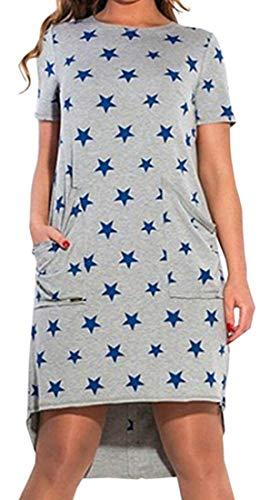 SELX-Mujeres Estrella Estampado Manga Corta T Camisa Blusa Suelta Mini Vestido, Azul, L