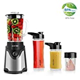 BESTEK BL15 Personal Blender and Coffee Grinder 2-in-1, Single Serve Smoothie Milk-shake Maker with 20oz Glass Jar, 2 BPA-Free Portable Bottles and Travel Lids (300W/Black)