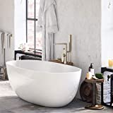 """MAYKKE Barnet 61"""" Acrylic Bathtub Retains Heat White Modern Oval Freestanding Comfortable Soaking Tub in Bathroom Lavatory, Shower cUPC certified, Drain & Overflow Assembly Included XDA1407001"""