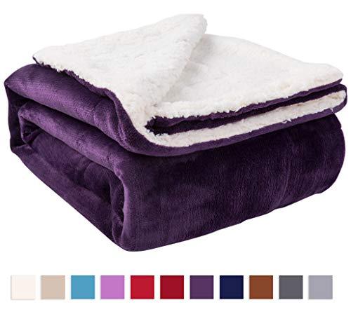 Nanpiper Sherpa Blanket Twin Thick Warm Blanket for Winter Bed Super Soft Fuzzy Flannel Fleece/Wool Like Reversible Velvet Plush Blanket (Purple Twin Size 60'x80')