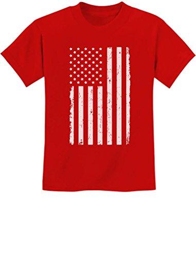 TeeStars - Big White American Flag - 4th of July Gift U.S.A Youth Kids T-Shirt Large Red