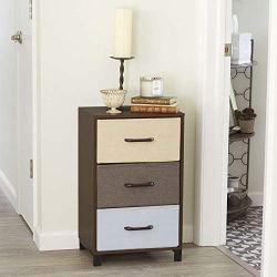 Household Essentials 8013-1 Wooden 3 Drawer Dresser | Storage Night Stand | Mahoganey