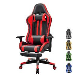Soontrans PC Computer Chair Home Office Chair PU Leather Gaming Chair Swivel Desk Chair with Backrest Seat Height Adjustable Headrest and Lumbar Pillow(Black/Red)