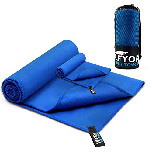 Wolfyok 2 Pack Microfiber Travel Sports Towel XL Ultra Absorbent and Quick Drying Swimming Towel (58' X 30') with Hand/Face Towel (14' X13.7') for Sports, Backpacking, Beach, Yoga or Bath, Blue