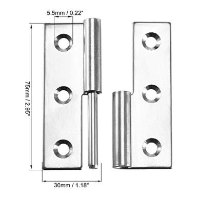 uxcell-Lift-Off-Hinge-Right-Handedness-Mini-Stainless-Steel-Hinge-Detachable-Slip-Joint-Small-Flag-Hinges-75mm-Long-50mm-Open-Width