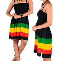BUNFIREs Womens Jamaican Caribbean Reggae Festival Rasta Colored Sleeveless Empire Skirt Dress 1 Size Fit Most Stretch Fit