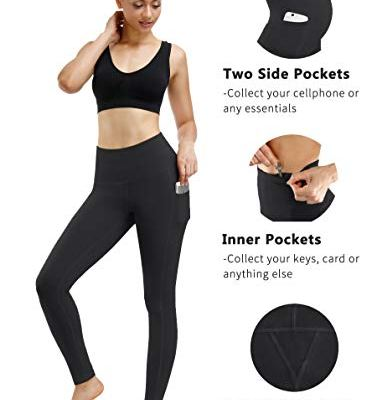 Navy blue yoga pants with pockets