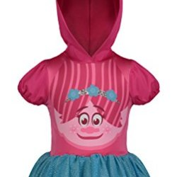 Trolls Poppy Toddler Girls' Costume Dress with Hood and Fur Hair, Pink and Blue, 3T