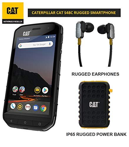 CAT S48C Single SIM Verizon Unlocked Smartphone Bundle with Active Urban 10000mAh Rugged Power Bank, Rugged Earphones and 2 Years Warranty