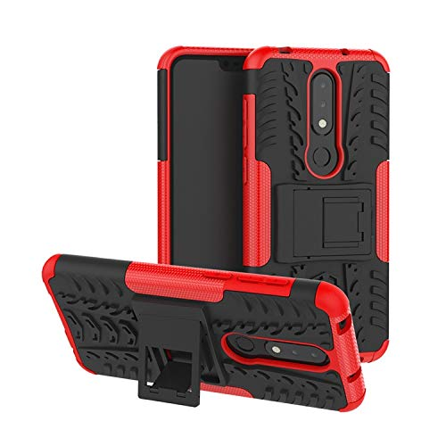 Casodon Nokia 6.1 Plus, Back Cover, Red Premium Real Hybrid Shockproof Bumper Defender Cover, Kick Stand Back Case Cover for Nokia 6.1 Plus 1