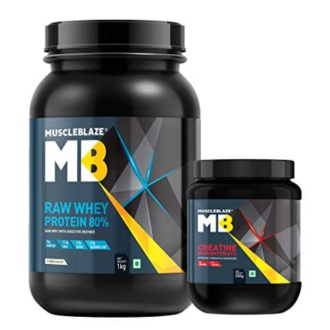 MuscleBlaze Raw Whey 1kg, Unflavoured with Creatine Monohydrate 250g, 2 Piece(s)/Pack Unflavoured