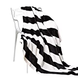 "NTBAY Flannel Throw Blankets Super Soft with Black and White Stripe (51""x 68"")"