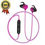Teepao Motorcycle Bluetooth Headphones, Wireless Bluetooth Earbuds - Active Noise Canceling, HiFi Stereo Richer Bass, Built-in Mic, Sweatproof - Sports Headphones for Men Women Girls Kids - Rose Red