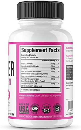 Thermogenic Fat Burner for Women - Triple-Strength Metabolism Booster, Appetite Suppressant & Carb Blocker - Natural Ingredients Support Healthy Weight Loss - 60 Diet Pills - Sheer Strength 2