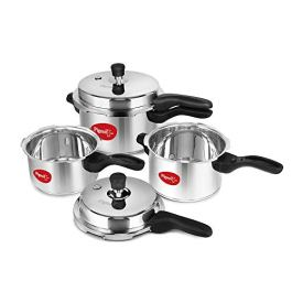 Pigeon Stainless Steel Pressure Cooker Combo (12739) 2 Litre, 3 Litre and 5 Litre, Induction Base, Outer Lid, Silver