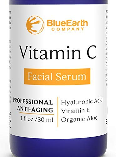 BlueEarth Company Vitamin C Serum for Face with Hyaluronic Acid + E + Aloe - Best Organic, Natural Facial and Eye Anti-Aging Topical Treatment to Fight Wrinkles, Fine Lines, and Fade Age Spots - 1 oz