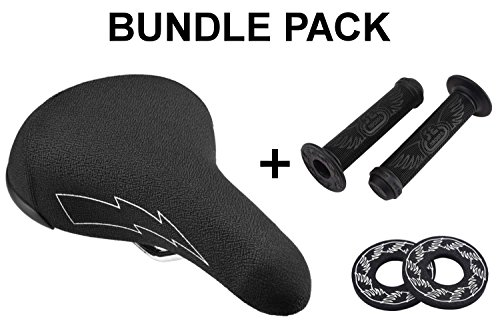 SE Bikes Flyer Seat Bundle 3 Items: SE Flyer Seat with SE Wing Grips with SE Wing Donuts (Black)