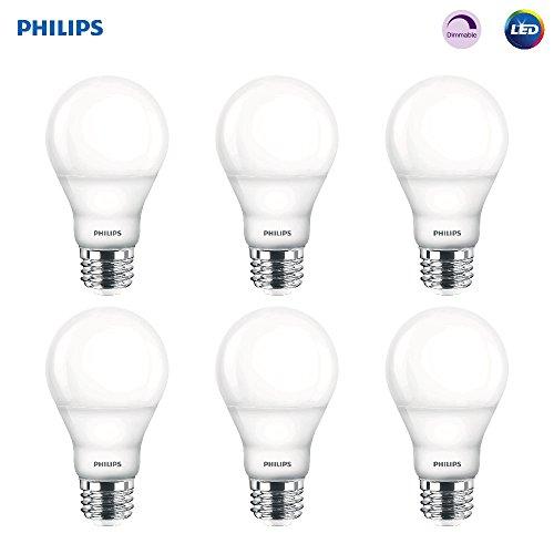 Philips LED Dimmable A19 Frosted Light Bulb: 800-Lumen, 2700-Kelvin, 9.5-Watt (60-Watt Equivalent), E26 Base, Soft White, 6-Pack (Old Generation)