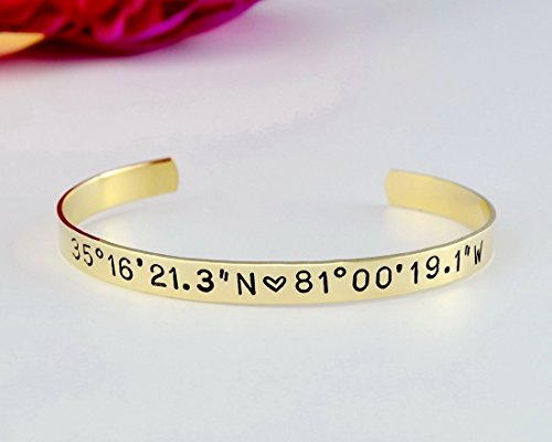 stamped longitude latitude customized cuff amazon coordinates location and hand bracelet personalized dp com
