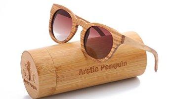 c3ca5175cb1e Arctic Penguin Classic Round Zebra Wood Polarized Sunglasses