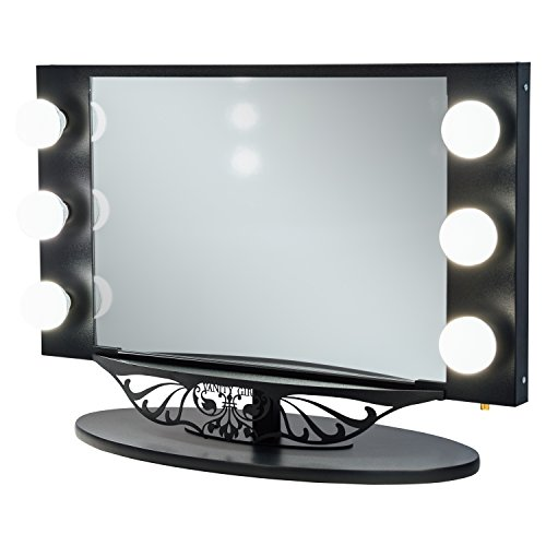 Silver Vanity Girl Starlet Lighted Vanity Mirror with Optic Glass and 6 Cosmetic Light...