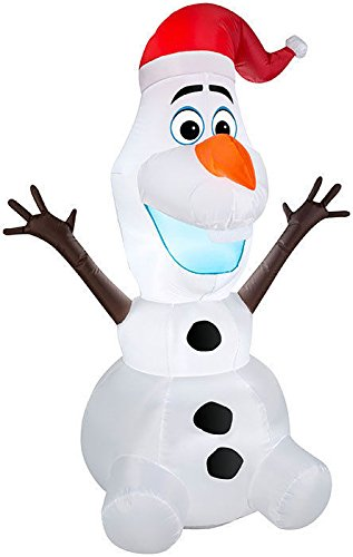 Gemmy Airn Inflatable Olaf The Snowman Wearing Santa Hat Christmas Yard Decorations 3 5 Foot Tall