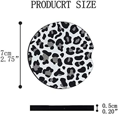Car Coasters for Drinks Absorbent, Cute Car Coasters for Women, ar Cup Holder Coasters for Your Car with Fingertip Grip, Auto Accessories for Women & Lady,Pack of 2 (Snow Leopard) 14