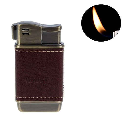 Honest Tobacco Pipe Lighter - Genuine Leather Adjustbale Soft Flame Refillable Butane Gas Lighter - Boxed