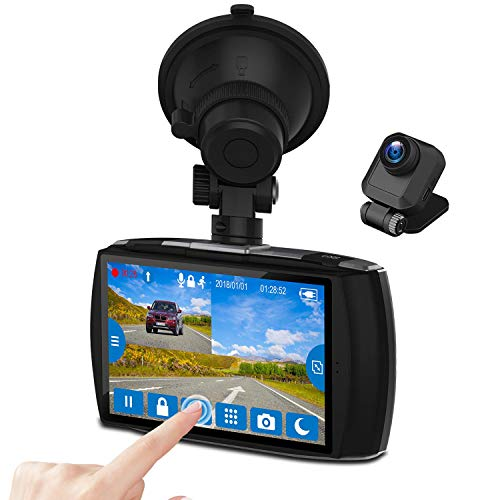 Z-EDGE Dash Cam Front and Rear 4.0' Touch Screen Dual Dash Cam FHD 1080P with Night Mode, 32GB Card Included,155 Degree Wide Angle, WDR, G-Sensor, Loop Recording