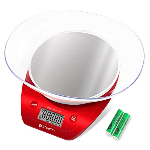 Etekcity EK5150 Digital Food Kitchen Scale for cooking and dieting,Removable Bowl, large, Red