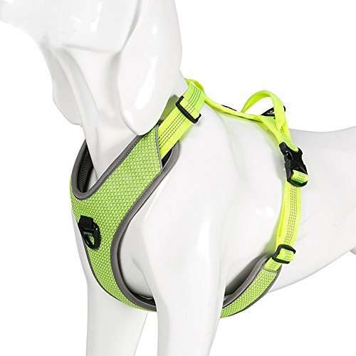 Chai's Choice Best New 2018! Outdoor Adventure Dog Harness. 3M Reflective Vest with Handle and 2 Leash Attachments. Please Use Sizing Chart at Left Before Ordering. (Large, Neon Yellow)