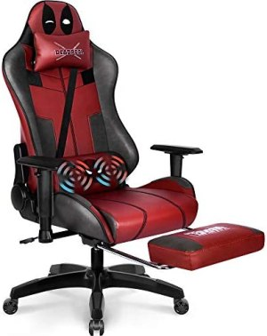 Marvel Avengers Massage Gaming Chair Desk Office Computer Racing Chairs-Adults Gamer Ergonomic Game Footrest Reclining High Back Support Racer Leather Foot Rest (Deadpool)