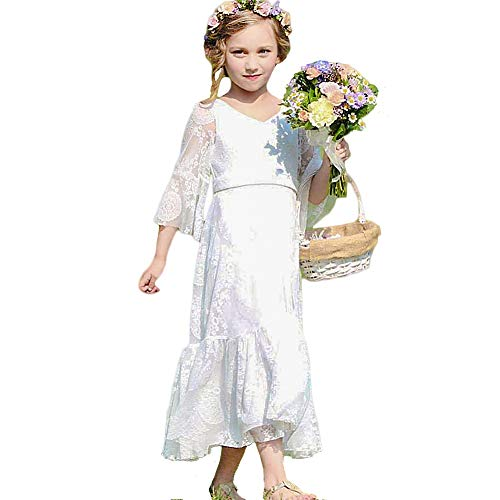 CQDY White Flower Girl Lace Dress Long Sleeves Children Baptism Dress First Communion Dress for 2-13T (6-7T)