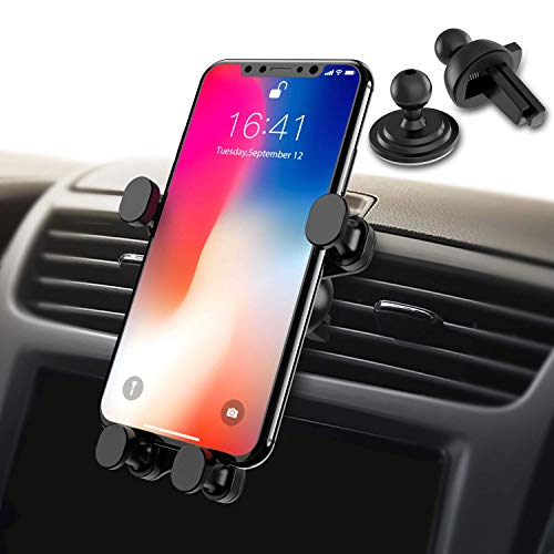 Syncwire 2-in-1 Air Vent Car Phone Mount, Gravity Automatic Locking Universal Cell Phone Holder Compatible iPhone Xs MAX/XS/XR/X/8/8 Plus, Samsung Galaxy S10 Plus/S10/S9/S8/S7/Note Series and More