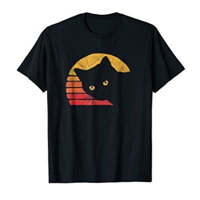 Vintage Eighties Style Cat Retro Distressed Design T-Shirt