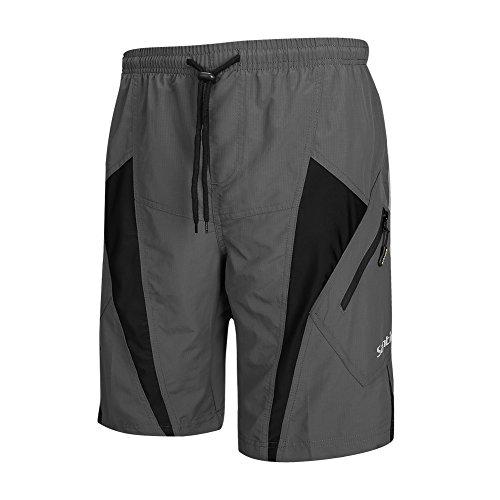 Santic Men's MTB Shorts Loose-Fit Cycling Bike Bicycle Shorts 4D Padded Grey