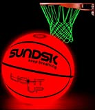 SCIONE Light Up Basketball Hoop Kit with LED Outdoor Basketball and Glow in The Dark Basketball Net Size 7- Official Size & Weight - Night Basketball Sports
