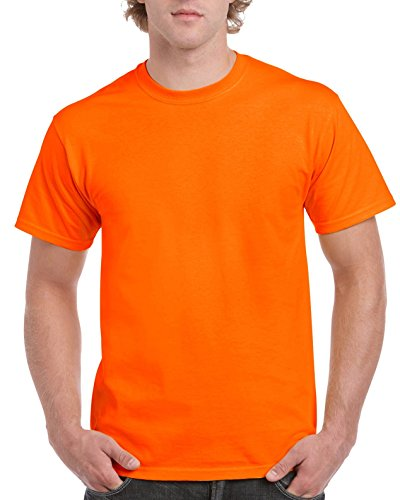 Gildan Men's Ultra Cotton Tee, Safety Orange, Large