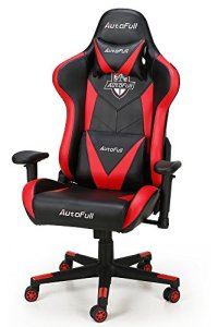 AutoFull Computer Gaming Chair - Adjustable Reclining High-Back PU Leather Swivel Video Game Chair with Headrest and Lumbar Support (Red)