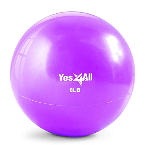 Yes4All Soft Weighted Toning Ball / Soft Medicine Sand Ball - Great for Exercise, Workout, Physical Therapy - Soft Weighted Ball (8 lbs, Purple)