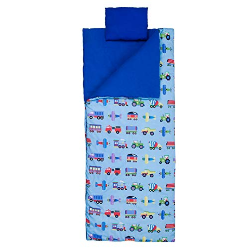 Wildkin Original Sleeping Bag, Features Matching Travel Pillow and Coordinating Storage Bag, Perfect for Sleeping On-The-Go, Olive Kids Design – Trains, Planes, & Trucks